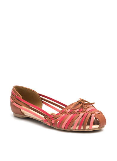 Woven Faux Leather Flats COGNAC