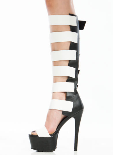 Strap To It Contrast Gladiator Heels BLACKWHITE