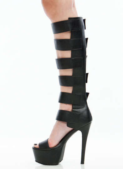 Strap To It Gladiator Heels BLACK