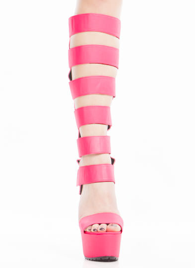 Strap To It Neon Gladiator Heels NEONPINK