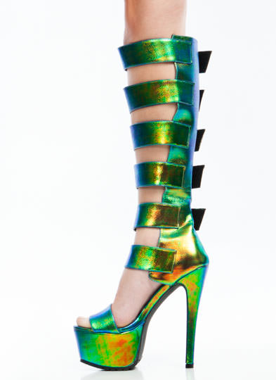 Strap To It Iridescent Gladiator Heels GREEN