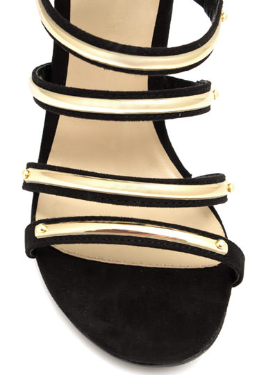 Hit The Bar Plated Strappy Heels BLACK