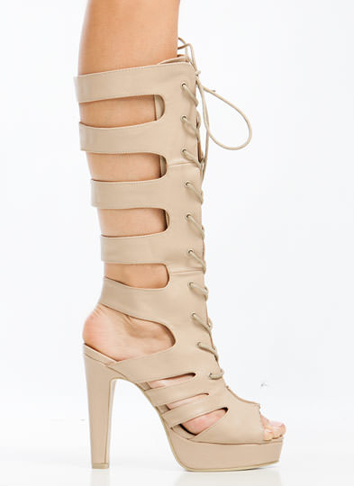 Rung Me Up Strappy Gladiator Heels NATURAL