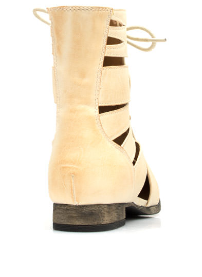 Do Slit Down Lace-Up Cut-Out Boots NATURAL