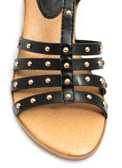 Dome Arena Strappy Studded Sandals BLACK
