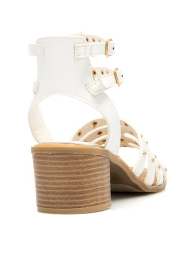 Dome Arena Strappy Studded Sandals WHITE