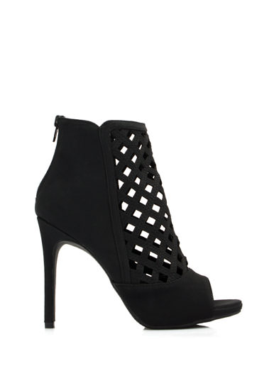Latticed Cut-Out Booties BLACK