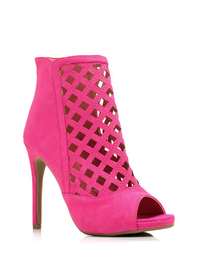 Latticed Cut-Out Booties FUCHSIA