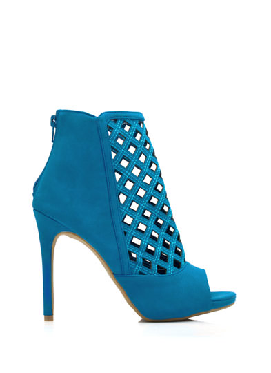 Latticed Cut-Out Booties TEAL