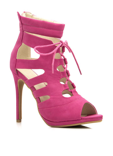 Cut-Out Lace-Up Heels FUCHSIA