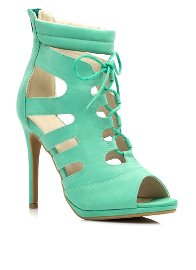 Cut-Out Lace-Up Heels MINT