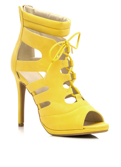 Cut-Out Lace-Up Heels YELLOW