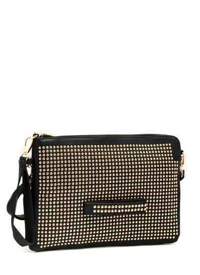 Hey Stud Faux Leather Clutch BLACK