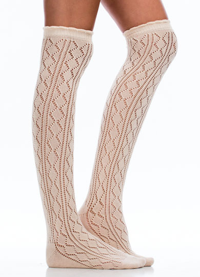 Diamond A Dozen Knee High Socks BEIGE