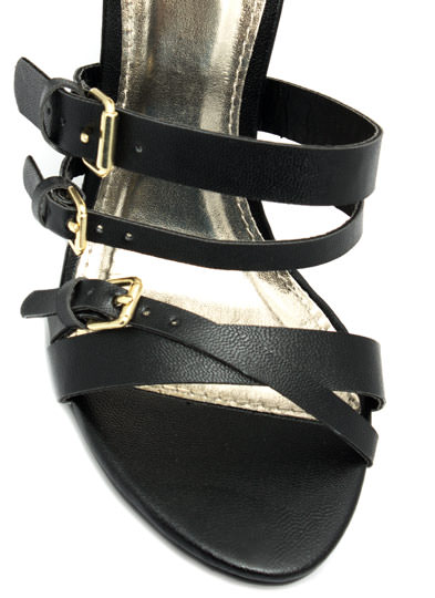 Cuffed Up And Strapped Down Heels BLACK