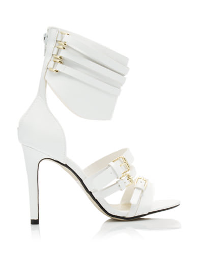 Cuffed Up And Strapped Down Heels WHITE