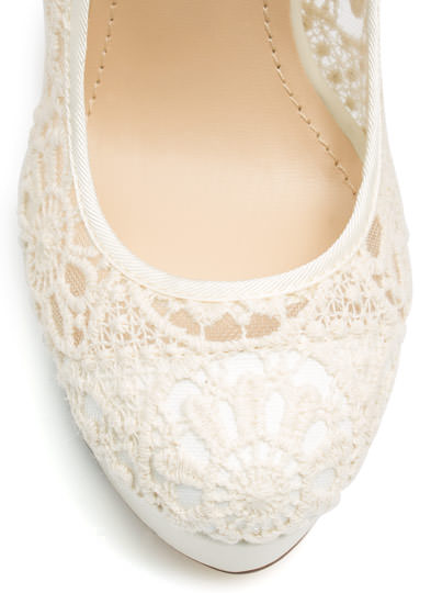 Lace Base Mary Jane Pumps BEIGE