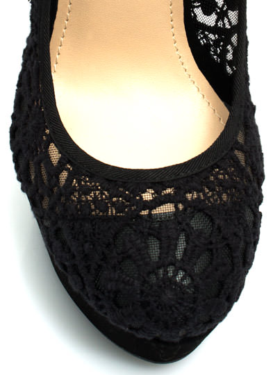 Lace Base Mary Jane Pumps BLACK