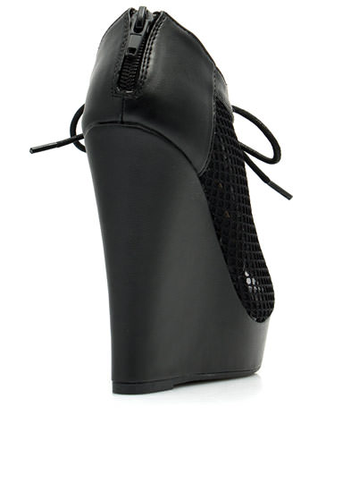 Make A Mesh Lace-Up Bootie Wedges BLACK