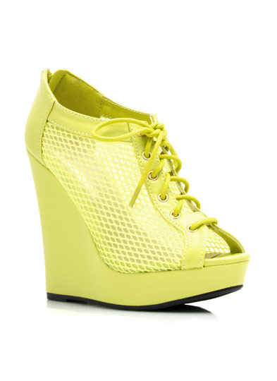 Make A Mesh Lace-Up Bootie Wedges LEMONLIME