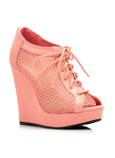 Make A Mesh Lace-Up Bootie Wedges SALMON