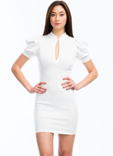 Puffed Up Bodycon Dress WHITE