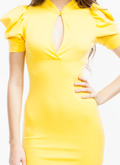 Puffed Up Bodycon Dress YELLOW