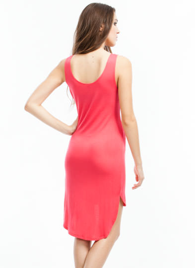Everyday High-Low Tank Dress CORAL