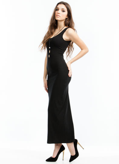 Basic Ribbed Maxi Dress BLACK