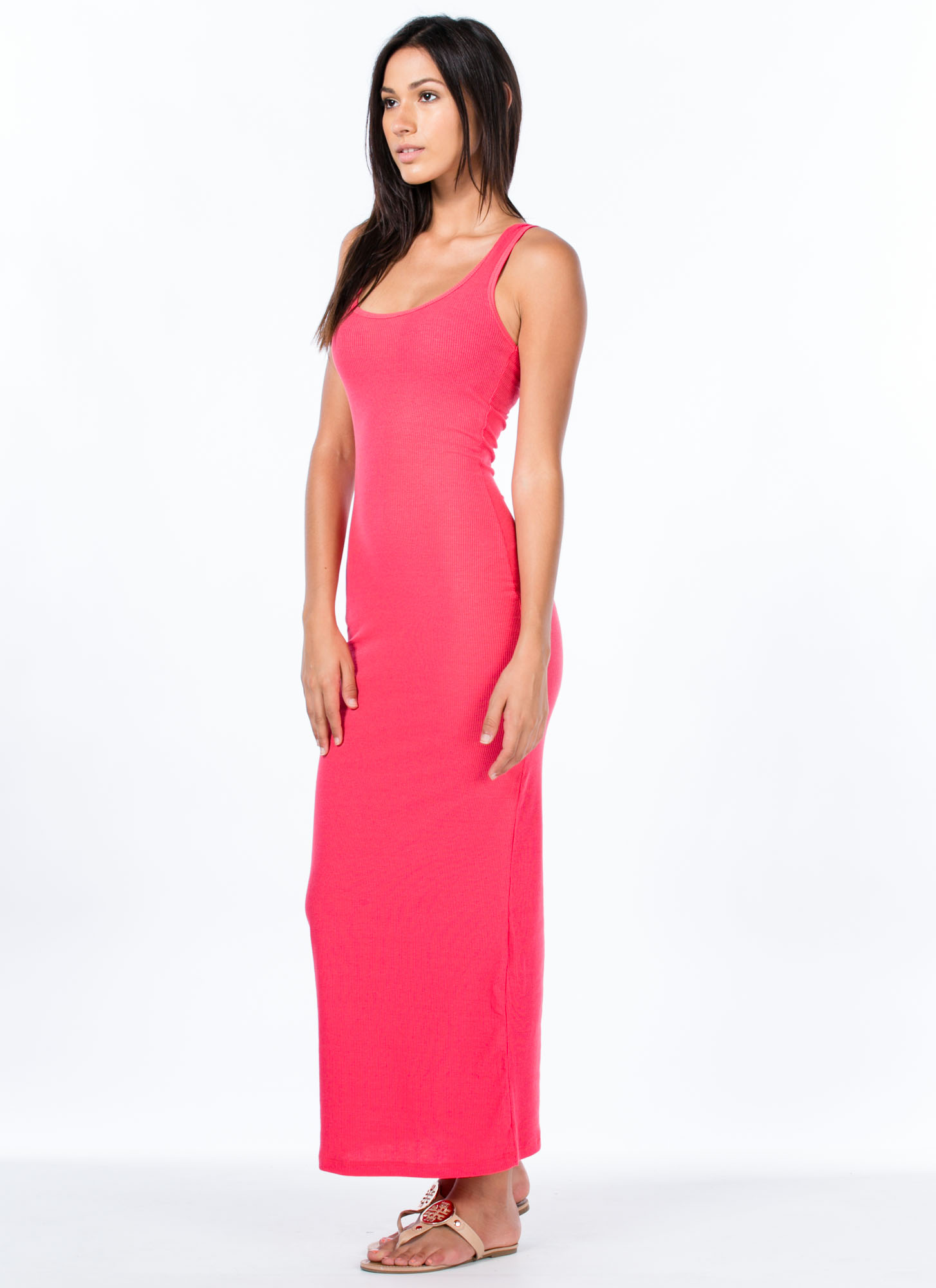Basic Ribbed Maxi Dress CORAL