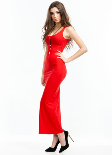 Basic Ribbed Maxi Dress RED