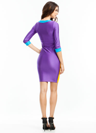 Getting High Shine Colorblock Dress YELLOW