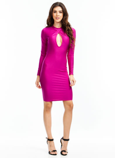 Turn The Keyhole Bodycon Dress MAGENTA