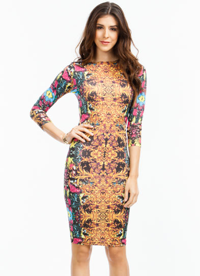 Mix Up Abstract Filigree Print Dress GOLD