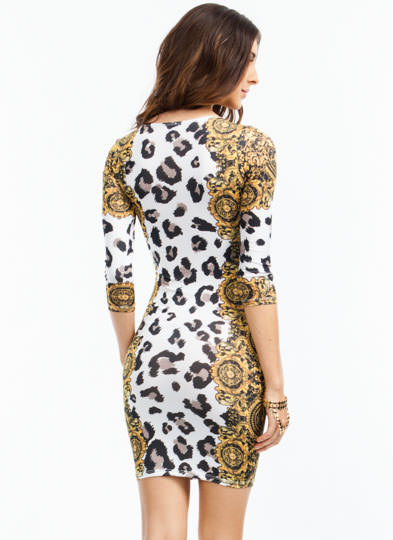 Spot N Scroll Leopard Filigree Dress MULTI