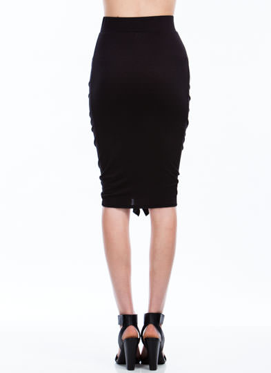 Ready To Ruffle Ruched Pencil Skirt BLACK