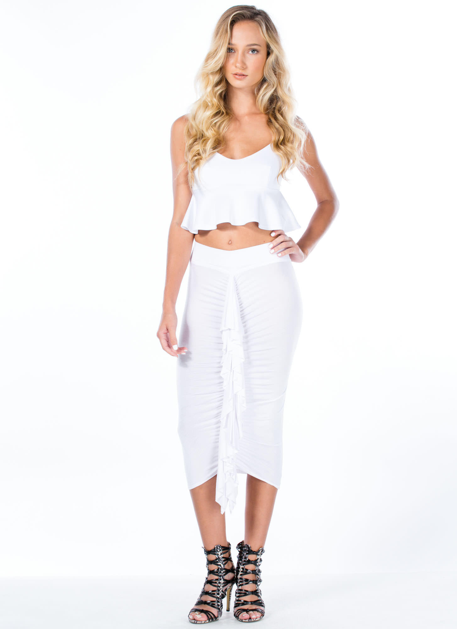 Ready To Ruffle Ruched Pencil Skirt WHITE