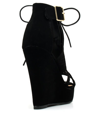 Love Triangle Faux Nubuck Wedges BLACK