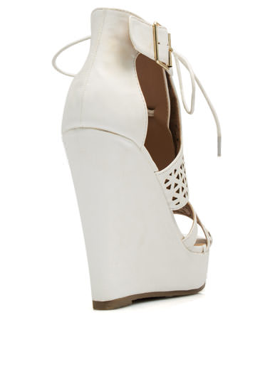 Love Triangle Faux Nubuck Wedges WHITE