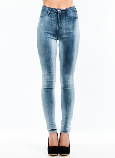 Set In Stone Wash High-Waisted Jeans BLUE