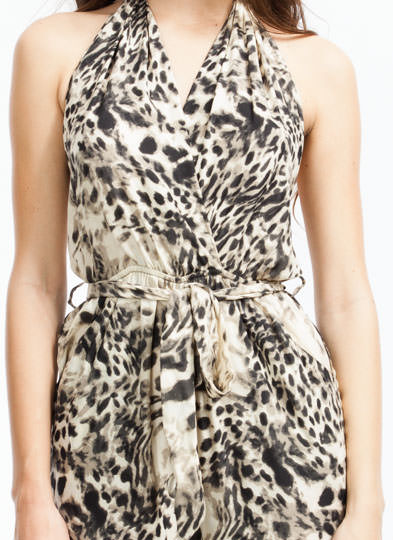 Luxe Leopard Halter Jumpsuit BLACKCREAM