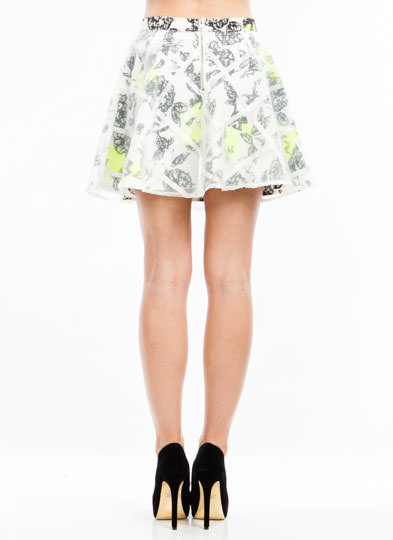 Flower Bed Layered Skater Skirt WHITE