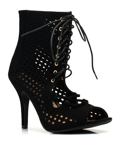 Perforated Cut-Out Heels BLACK