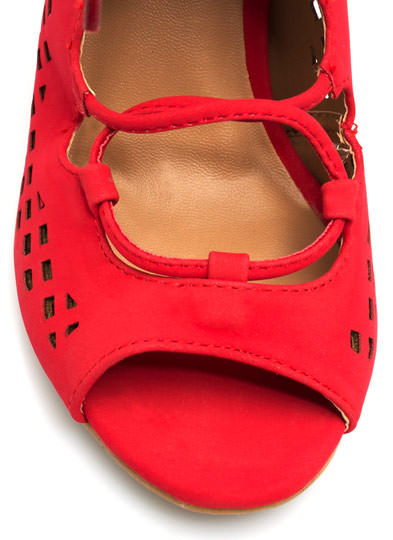 Perforated Cut-Out Heels RED