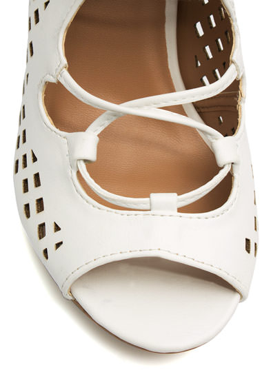 Perforated Cut-Out Heels WHITE