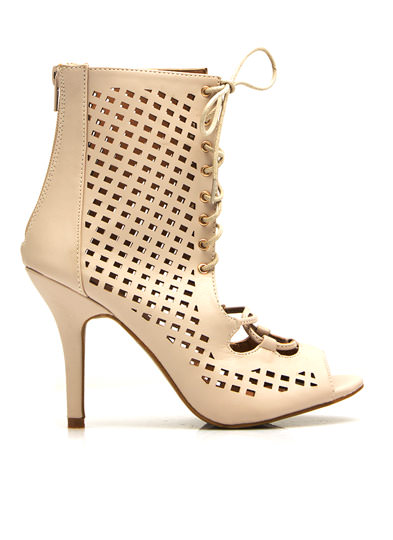 Faux Leather Perforated Cut-Out Heels NUDE