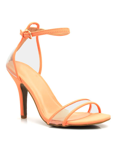 Clear The Way Ankle Strap Heels PEACH