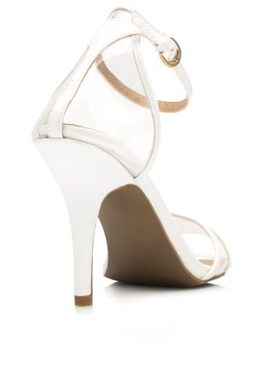 Clear The Way Ankle Strap Heels WHITE