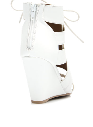 Gladiator Girl Wedge Booties WHITE