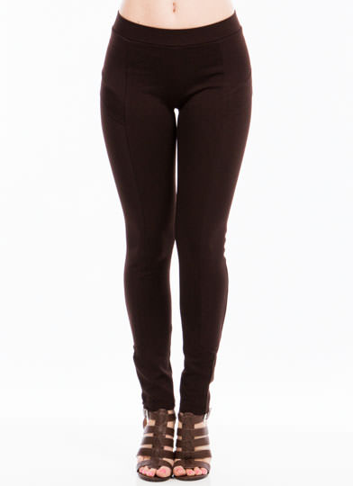 Biker Babe Moto Skinny Pants BROWN